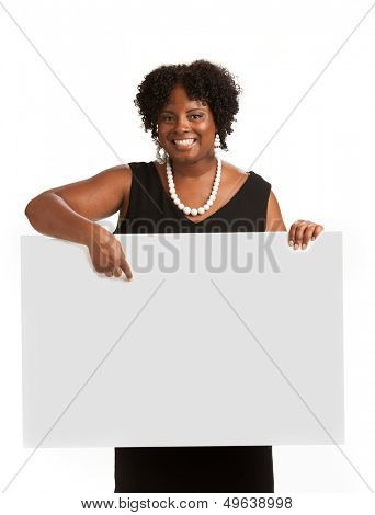 Happy Smiling African American Female Holding Blank Board Isolated on White Background