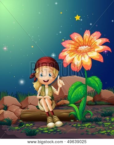 Illustration of a young girl sitting above a log near the giant flower