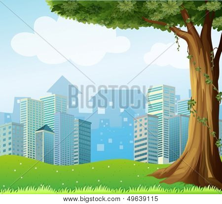 Illustration of a giant tree with vine plants across the high buildings
