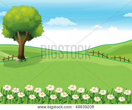Illustration of a hilltop with a garden and a giant tree