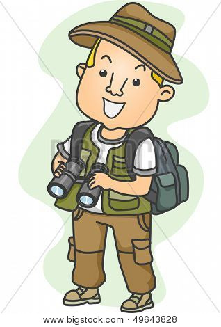 Illustration of a Man Dressed in Camping Gear Holding a Pair of Binoculars