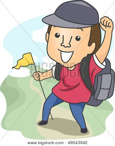 Illustration of a Man Dressed in Camping Gear and Holding a Flag While Out Hiking