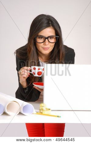 Interior designer and architect woman working on computer.