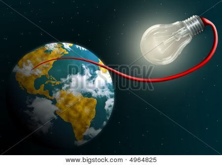 Earth Connected To Shining Electric Lamp