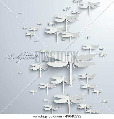 Abstract 3D Dragonflies Design