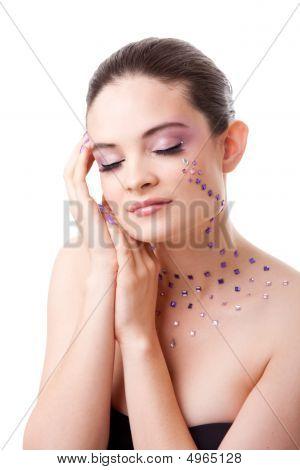 Beatiful Woman With Purple Makeup