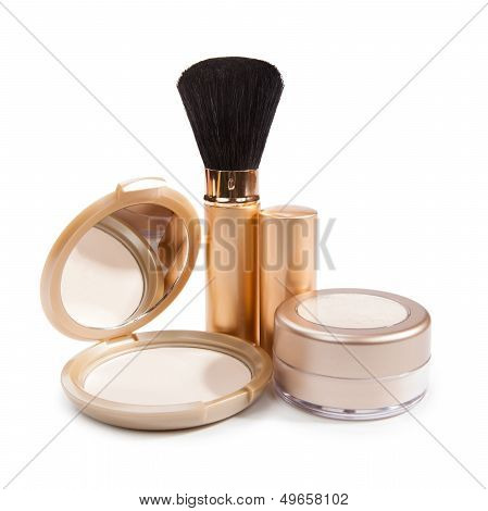 Cosmetics For Make-up Isolated On White Background