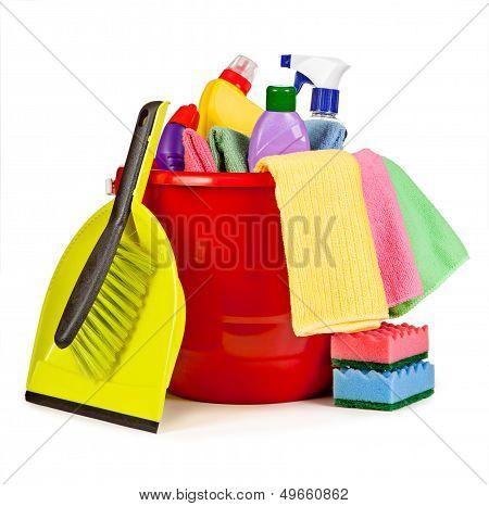 Nice Arrangement Of Items For Cleaning. Bucket, Brush And Shovel, Spray Bottles Of Chemicals Isolate