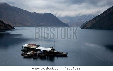 Lake in mountains with boats