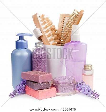 Shampoos, Combs And Handmade Soap Isolated On White Background