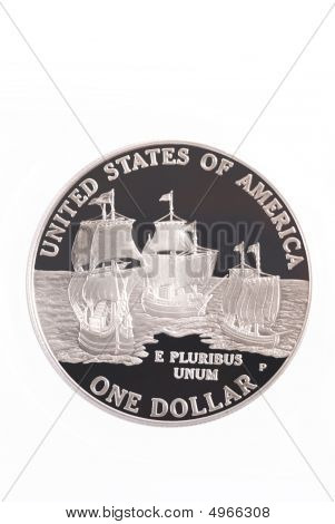 2007 Jamestown Commemorative Us Silver Dollar Coin