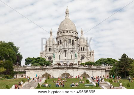 Paris, France - July 28: Sacre Coeur Basilica In Summer Day. Large Medieval Cathedral. Basilica Of S