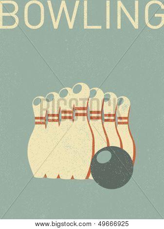 vector retro bowling pins illustration
