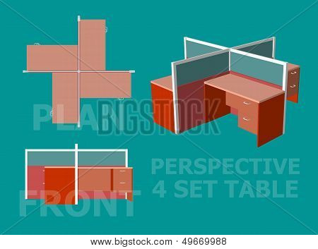 Four Office Table Set Design