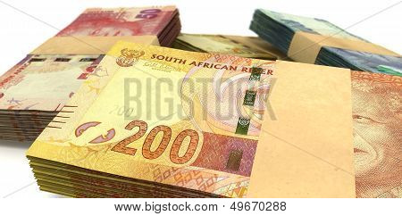 South African Rand Notes Bundles Stack Extreme Close