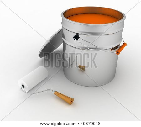 open bucket with a pain and roller. 3d illustration on white background.