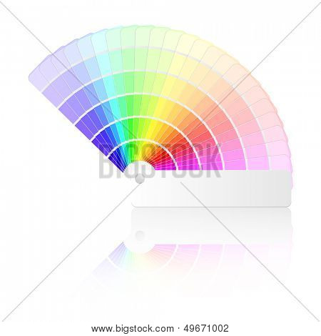 detailed illustration of a color guide with different colors and swatches