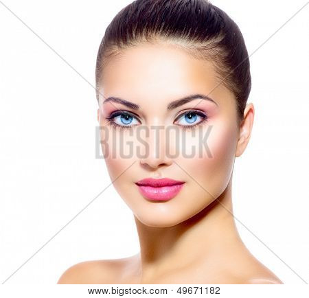 Beautiful Face of Young Woman with Clean Fresh Skin close up isolated on white. Beauty Portrait. Spa Woman Smiling. Perfect Fresh Skin and Blue Eyes. Pure Beauty Model. Youth and Skin Care Concept