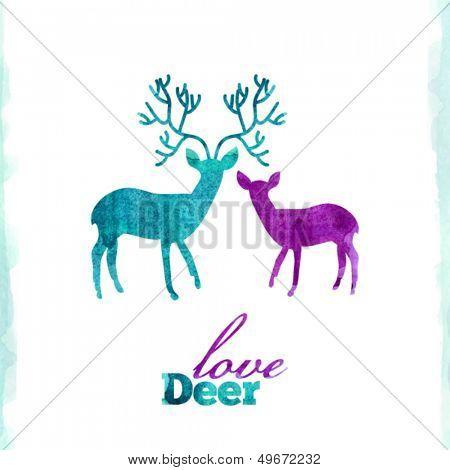 Watercolor deer's love, VECTOR artistic illustration