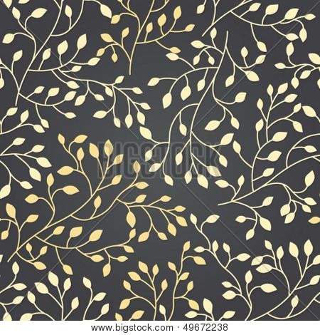 Elegant floral seamless pattern with golden foliage, beautiful floral background