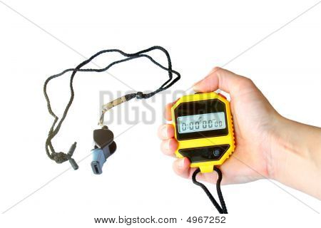 Stopwatch In The Hand And  Whistle