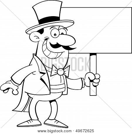 Cartoon man in top hat holding a sign