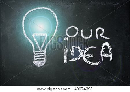 Chalk Design With Lightbulb, Business Idea