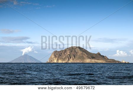 View From Sailing Boat - Stromboli On The Left.