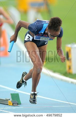 BARCELONA - JULY, 14: Kendall Baisden of USA competes on 4X400 Relay of the 20th World Junior Athletics Championships at the Olympic Stadium on July 14, 2012 in Barcelona, Spain