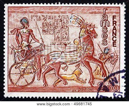 Postage Stamp France 1976 Ramses Ii, Abu Simbel Temple, Eqypt