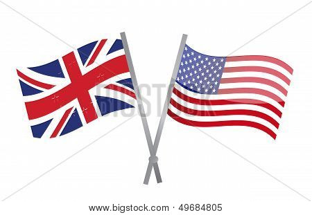 Uk And Usa Flags Join Together. Illustration