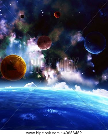 A beautiful space scene with planets and nebula