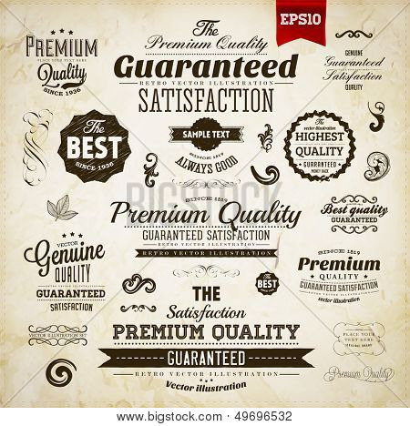 Retro elements collection for calligraphic designs | Vintage ornaments | Premium Quality labels | Guaranteed and Genuine labels | eps10 vector set