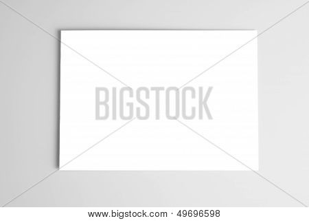 White card over gray background
