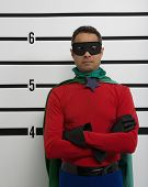 image of police lineup  - Superhero standing in police line up - JPG