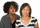image of sulky  - Sad mother with teenage daughter on isolated background - JPG