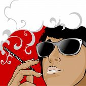 foto of labia  - illustration of young woman in glasses with cigarette - JPG