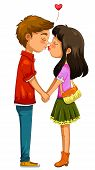 stock photo of hand kiss  - boy and girl holding hands and kissing - JPG