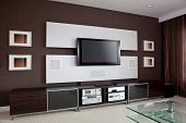 stock photo of home theater  - Modern Home Theater Room Interior with Flat Screen TV - JPG