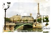 Постер, плакат: Parisian streets picture in vintage painting style