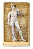 vintage cards - European landmarks - David sculpture poster