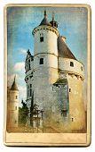 european landmarks - vintage cards- Chenonceau castle poster