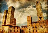great italian landmarks painted series - San Gimignano poster