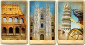 Italian landmarks - vintage cards series poster