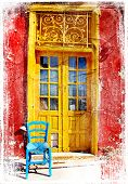 picture of hydra  - old traditional greek doors  - JPG