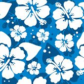 Seamless pattern with Hibiscus flowers. Vector illustration.