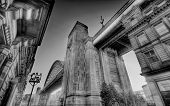 pic of tyne  - Looking up at the Tyne Bridge in Newcastle upon Tyne - JPG