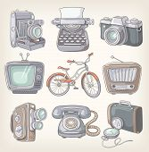picture of outdated  - Set of vintage items icons - JPG