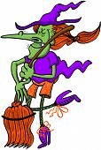 picture of panti-tights  - Cool and nice witch dancing tightly with her broomstick in great moment of inspiration - JPG