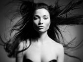 image of fine art portrait  - Black and white art portrait of a beautiful young lady - JPG